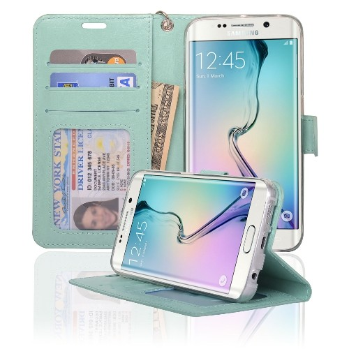Navor Samsung Galaxy S6 Edge Wallet Folio Leather Case with Four Card Pockets & Money Slot, Removable Strap - Mint