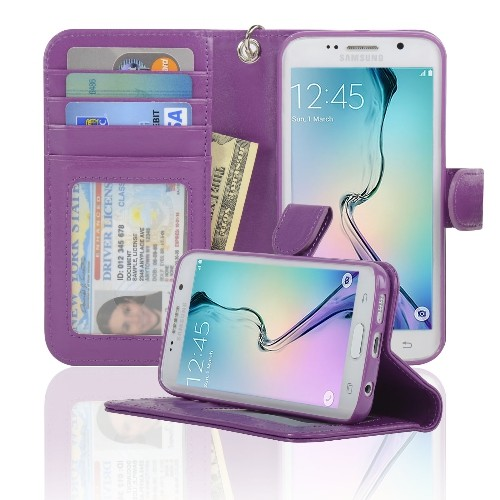Navor Wallet Case for Samsung Galaxy S6 Edge - Purple
