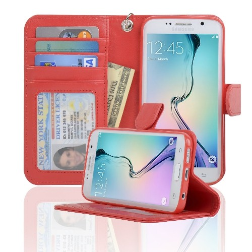 Navor Samsung Galaxy S6 Edge Wallet Folio Leather Case with Four Card Pockets & Money Slot, Removable Strap - Red