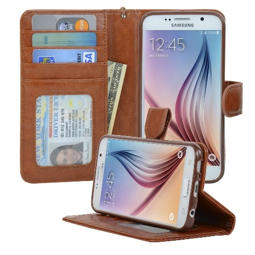Navor Samsung Galaxy S6 Wallet Folio Leather Life Protective Case with Card Pockets & Money Slot, Removable Strap - Brown