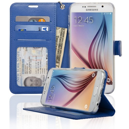 Navor Samsung Galaxy S6 Wallet Folio Leather Life Protective Case with Card Pockets & Money Slot, Removable Strap - Hot Blue