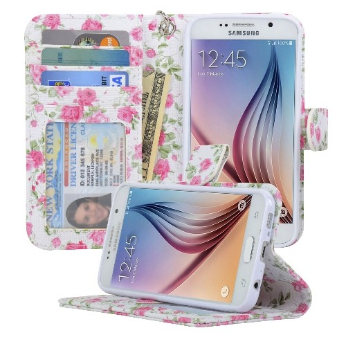 Navor Samsung Galaxy S6 Wallet Folio Leather Life Protective Case with Card Pockets & Money Slot, Removable Strap - Rose