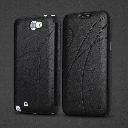Leather Diary Flip Cover Case for Samsung Galaxy Note 2 N7100 - Black