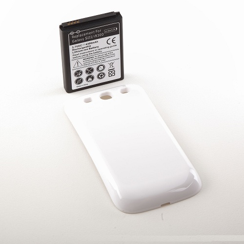 4300mAh Extended Life Battery Back Cover Door Samsung Galaxy S3 III I9300 - White