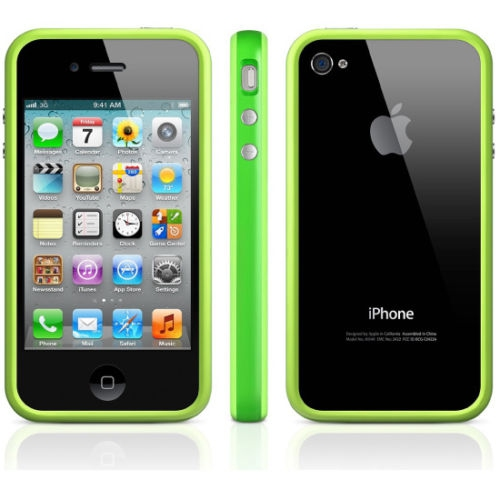 TPU Bumper Frame Silicone Skin Case Cover for iPhone 4 / 4S - Green