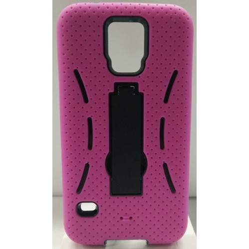 Samsung Galaxy S5 Rubber Kick-stand Case - Hot Pink