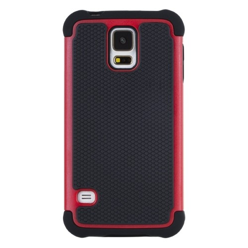 Rugged Impact Hybrid Hard Back Case Cover For Samsung Galaxy S5 - Red