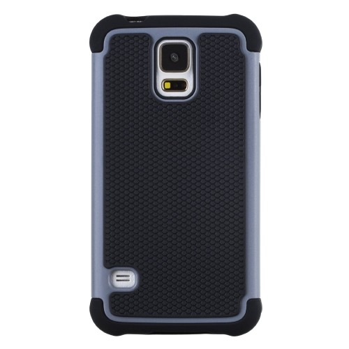 Rugged Impact Hybrid Hard Back Case Cover For Samsung Galaxy S5 - Grey