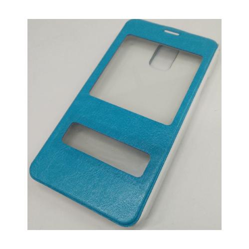 Étui en similicuir à double fenêtre pour Samsung Galaxy S5 - Bleu aqua