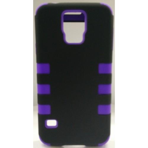 Samsung Galaxy S5 Dual Layer Stripe Case - Purple