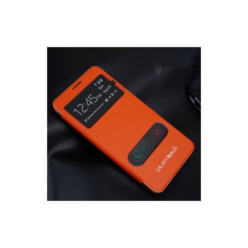 Double Window Flip Cover Case For Samsung Galaxy Note 3 - Orange