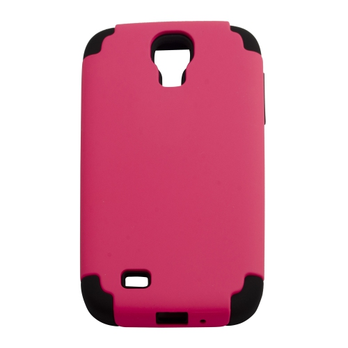 Matte Plastic and Silicone Hybrid Case for Samsung Galaxy S4 - Hot Pink