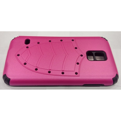 Samsung Galaxy S5 Shield Pattern Heavy Duty Case - Hot Pink