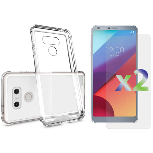 Exian LG G6 Screen Protectors X 2 and TPU Slim Case Transparent Clear