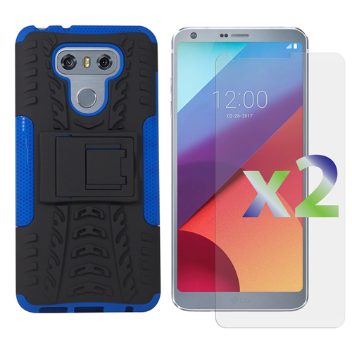 Exian LG G6 Screen Protectors X 2 and Armored Case with Stand Blue