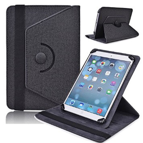 "Universal Adjustable 7"" Tablet Rotating Case - Black"