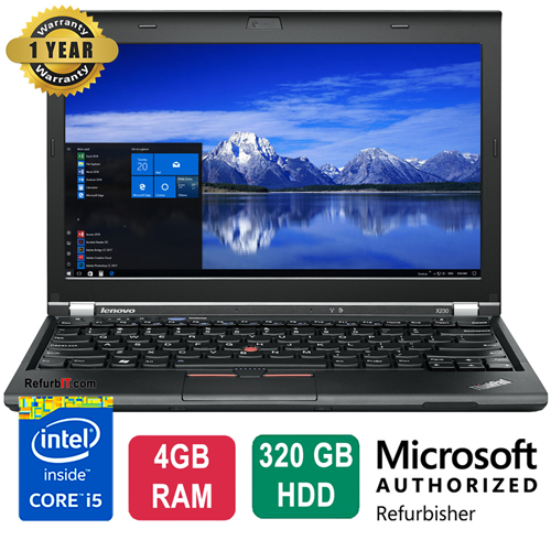"Lenovo ThinkPad X230 Laptop, 12.5"" Display, Intel Core i5, 4GB RAM, 320GB HDD, Windows 10 Home, Webcam - Refurbished"