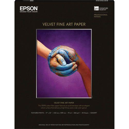 Epson Velvet Fine Art Paper (17 X 22) (25 Sheets/pkg)