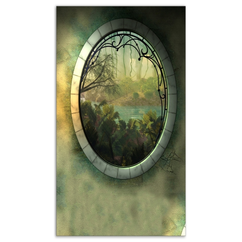 Designart Green Fantasy Landscape With Frame Photography Canvas
