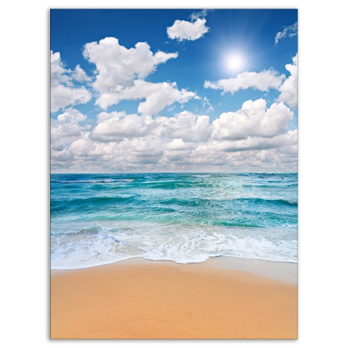 designart peaceful seashore under white clouds modern beach