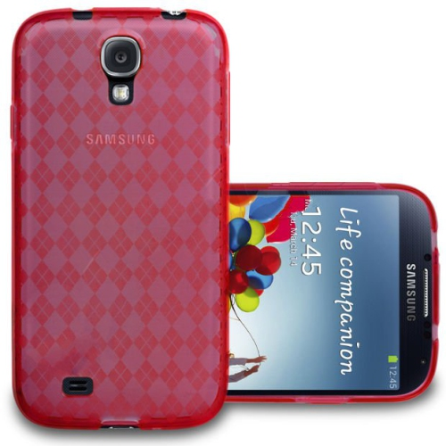 Diamond Design Gel Case Cover for Samsung Galaxy S4 - Red