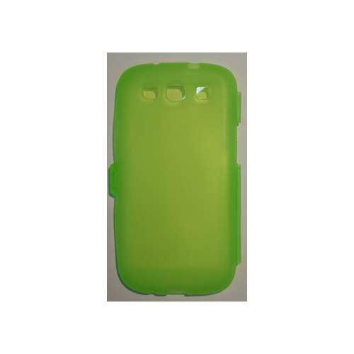 Clear Flip TPU Skin Gel Silicone Case Cover for Samsung Galaxy S3 S III i9300 - Lime Green