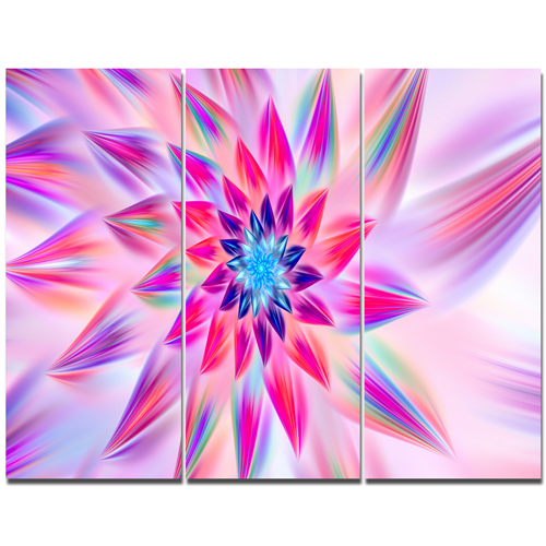 Designart Huge Pink Blue Fractal Flower Floral Canvas Art Print