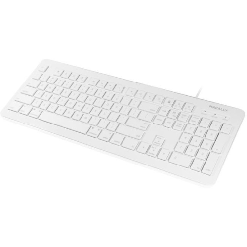 Macally 104 Key Full Size USB Keyboard with Two USB 2.0 Ports for Mac and PC