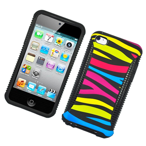 Insten Zebra Hard Dual Layer Plastic TPU Case For Apple iPod Touch 4th Gen, Colorful