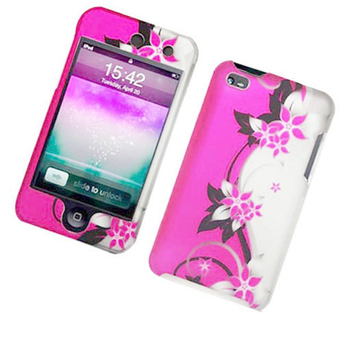 Insten Vines Hard Plastic Cover Case For Apple iPod Touch 4th Gen, Hot Pink/Silver