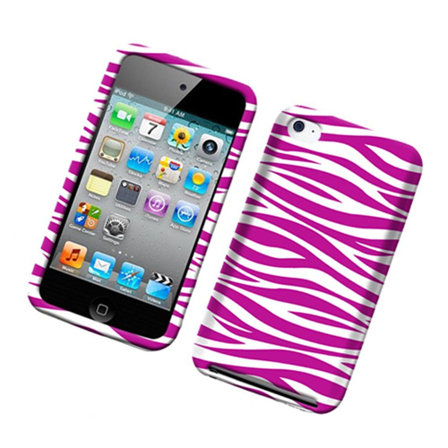Insten Zebra Hard Rubber Coated Case For Apple iPod Touch 4th Gen, Hot Pink/White