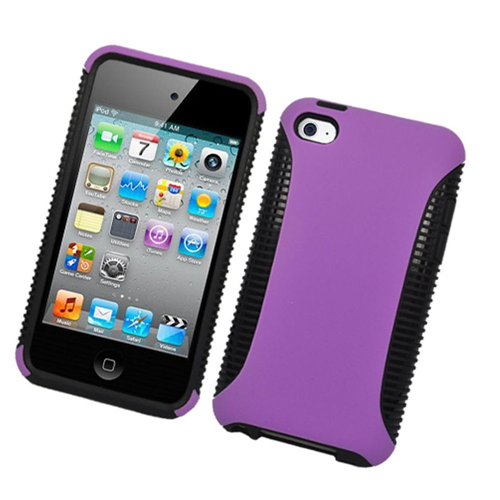 Insten Hard Dual Layer Plastic TPU Cover Case For Apple iPod Touch 4th Gen, Purple/Black