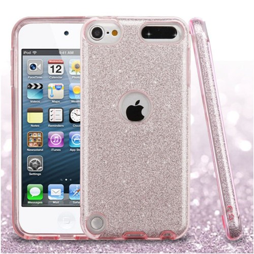 Insten Glitter Hard Hybrid Plastic TPU Cover Case For Apple iPod Touch 5th Gen/6th Gen, Pink