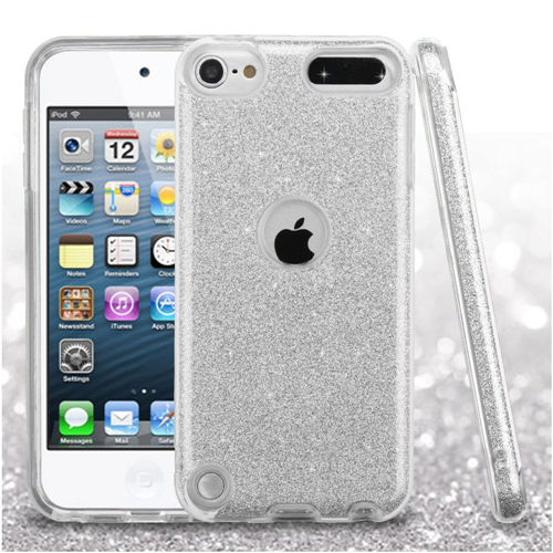 Insten Glitter Hard Dual Layer Plastic TPU Cover Case For Apple iPod Touch 5th Gen/6th Gen, Silver