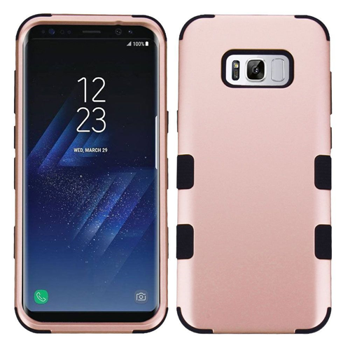 Insten Tuff Hard Hybrid Plastic TPU Case For Samsung Galaxy S8 Plus, Rose Gold/Black