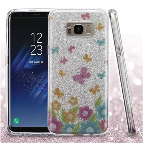 Insten Glitter Butterflies Hard Dual Layer Plastic TPU Case For Samsung Galaxy S8 Plus, Colorful