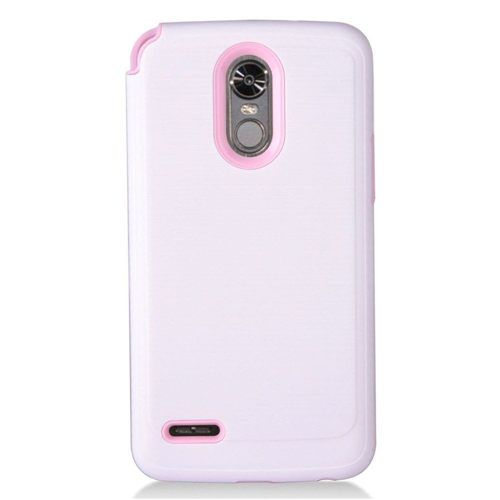 Insten Chrome Brushed Hard Case For LG Stylo 3, White/Pink