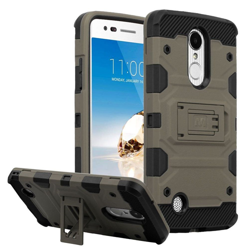 Insten Tank Hard Case For LG Aristo/Fortune/K4 (2017)/K8 (2017)/LV3/Phoenix 3, Dark Gray/Black