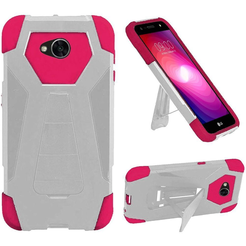 Insten T-Stand Hybrid Rubber Coated Case For LG Fiesta LTE/K10 Power/X Charge, White/Hot Pink