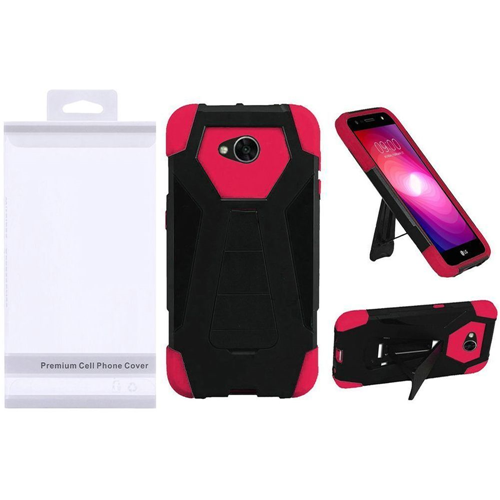 Insten T-Stand Hybrid Plastic Case w/stand For LG Fiesta LTE/K10 Power/X Charge, Black/Hot Pink