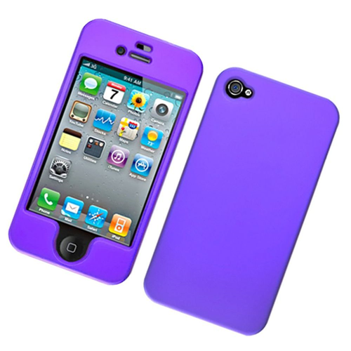Insten Hard Rubber Cover Case For Apple iPhone 4/4S, Purple