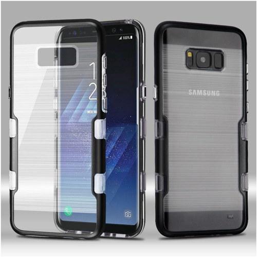 Insten Tuff Hard Dual Layer Metallic TPU Case For Samsung Galaxy S8 Plus, Black/Clear