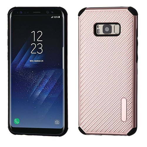 Insten Mat Weave Hard Hybrid Plastic TPU Case For Samsung Galaxy S8 Plus, Rose Gold