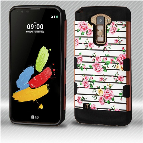 Insten Tuff Roses Hard Hybrid Plastic TPU Case For LG Stylus 2, Multi-Color