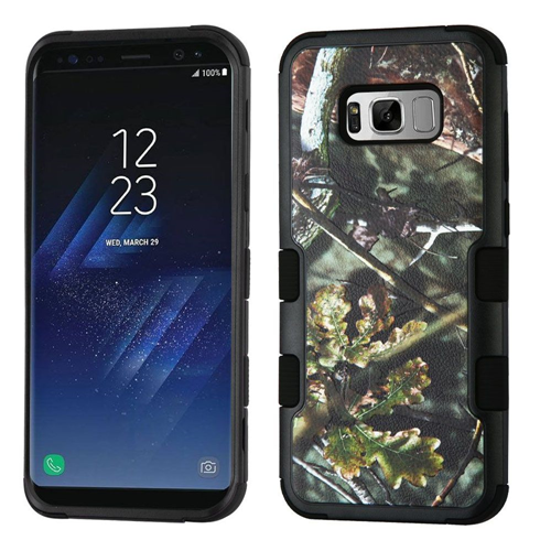 Insten Tuff Oak Hard Dual Layer Plastic TPU Cover Case For Samsung Galaxy S8, Black/Green