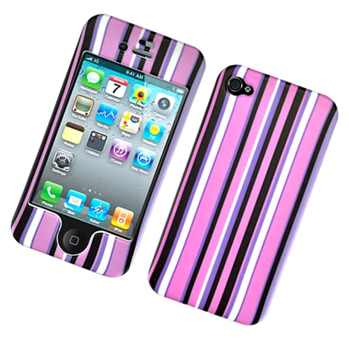 Insten Stripes Hard Plastic Cover Case For Apple iPhone 4/4S, Multi-Color