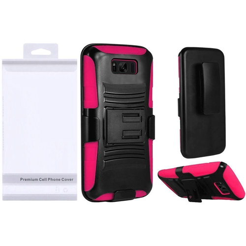 Insten Wave Symbiosis Hard Plastic Case w/stand/Holster For Samsung Galaxy S8 Plus, Black/Hot Pink