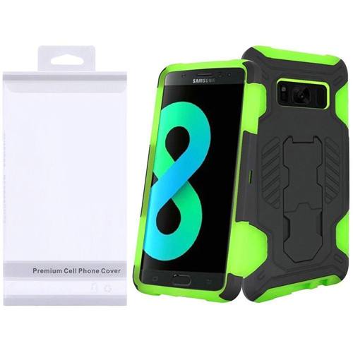 Insten SuperCoil Hard Dual Layer Plastic Case w/stand For Samsung Galaxy S8 Plus, Black/Neon Green