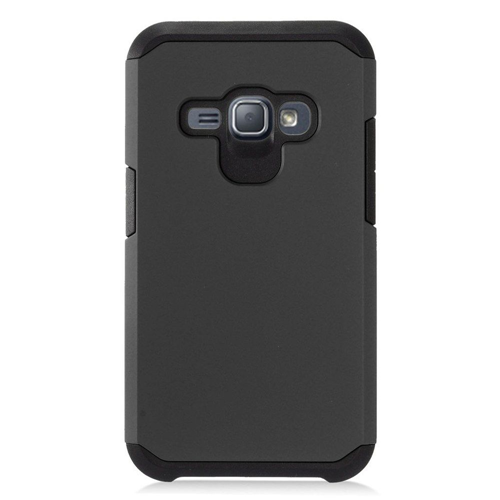 Insten Hard Hybrid Rubber Coated Case For Samsung Galaxy J1 (2016), Black