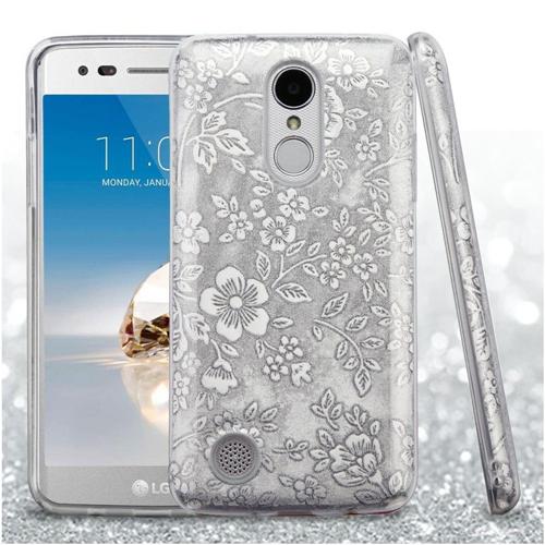 Insten Glitter Flowers Hard Hybrid Case For LG Fortune/K4 (2017)/K8 (2017)/LV3/Phoenix 3, Silver